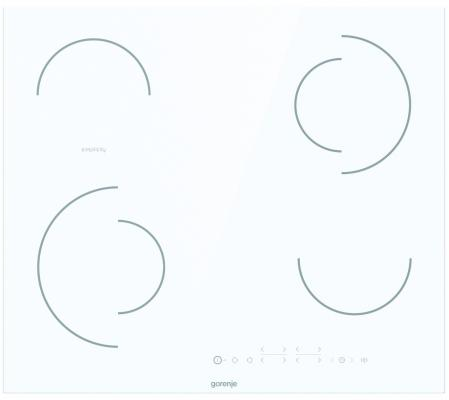 Встраиваемая варочная панель GORENJE/ Стеклокерамическая варочная панель, Цвет: Белый, Стеклокерамическая варочная панель, Без рамки, Сенсорное управление, Таймер, Защитная блокировка от детей, Габаритные размеры (вхшхг): 5,4 ? 59,5 ? 52 см, Вес (брутто/нетто): 8,2 / 7,7 кг
