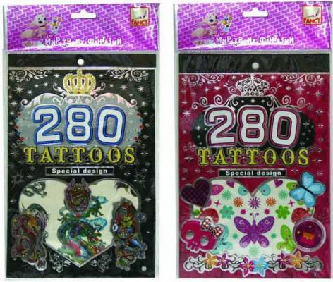 Альбом с наклейками для тела ТАТУ-СТИЛЬ, 280 наклеек, ассорти 2 дизайна набор тату наклеек для тела татус 22
