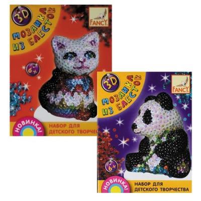 Набор д/творчества 3D МОЗАИКА ИЗ БЛЕСТОК, 4 дизайна (мишка, панда, дельфин, динозавр) набор д творчества 3d мозаика животные 6 дизайнов