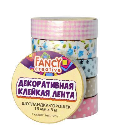 Купить Лента клейкая декоративная ШОТЛАНДКА/ГОРОШЕК 1 шт., 15 мм х 3 м, текстильная, Fancy Creative, Книги с наклейками и магнитами