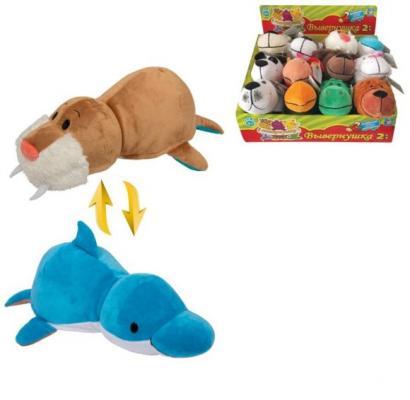 Купить Мягкая игрушка Вывернушка 20 см 2в1 Морж-Дельфин, 1toy, белый, бежевый, голубой, искусственный мех, пластик, Животные