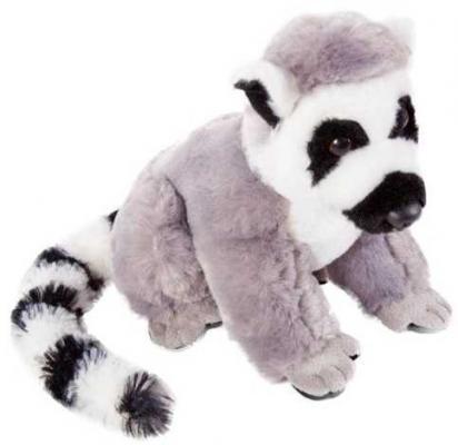 Купить Лемур 18см., Fluffy Family, белый, серый, черный, 18 см, искусственный мех, Животные