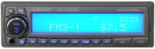 Автомагнитола Swat MEX-3006UBB 1DIN 4x50Вт автомагнитола swat mex 1013ubw 1din 2x35вт
