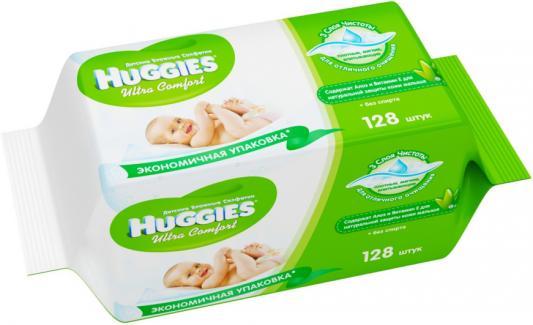 Салфетки влажные Huggies Ультра Комфорт - Алоэ Дуо детские 128 шт 2398694 huggies влажные салфетки детские элит софт дуо без отдушек 128 шт уп 5 упаковок
