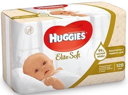 Салфетки влажные Huggies Элит Софт детские 128 шт 2398294 салфетки влажные huggies ультра комфорт алоэ дуо 128 шт детские 2398694
