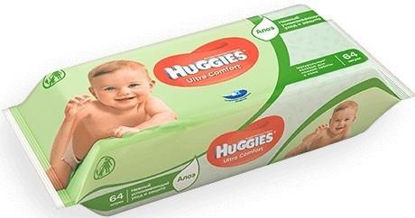 Салфетки влажные Huggies Ультра Комфорт - Алоэ детские 64 шт 2398594