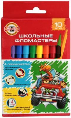 Набор фломастеров школьных SELFIES, 10 цветов, картонная коробка цена