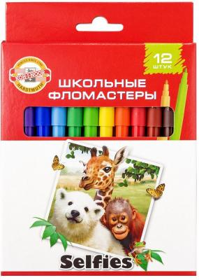 Набор фломастеров школьных SELFIES, 12 цветов, картонная коробка цена