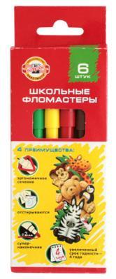 Набор фломастеров школьных SELFIES, 6 цветов, картонная коробка цена