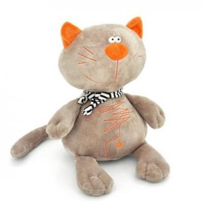 Мягкая игрушка кот ORANGE Кот Батон искусственный мех серый 40 см MC2370/40B мягкая игрушка кот orange кот обормот рыбак 20 см искусственный мех текстиль
