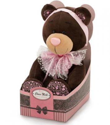 Мягкая игрушка медведь ORANGE Медведь Розовый бант искусственный мех пластик коричневый розовый 20 см М016/20 magic bear toys мягкая игрушка медведь с заплатками в шарфе цвет коричневый 120 см