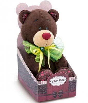 Купить Мягкая игрушка медведь ORANGE Медведь Зелёный бант искусственный мех коричневый зеленый 20 см С016/20, коричневый, зеленый, Животные