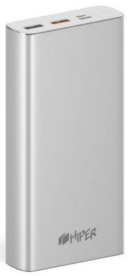 Внешний аккумулятор Power Bank 20000 мАч HIPER MPX20000 серебристый внешний аккумулятор samsung eb pg930bbrgru 5100mah черный