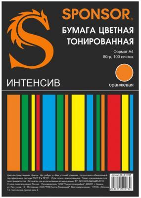 Цветная бумага SPONSOR SC-I.4.100OR A4 100 листов тонированная, интенсив бумага цветная тонированная sponsor а4 80гр 100 листов пастель 5 цветов по 20л