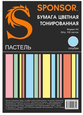 Цветная бумага SPONSOR SC-P.4.100BL A4 100 листов пастель, голубая росмэн цветная бумага 10л 10цв мстители