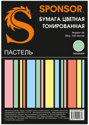 Цветная бумага SPONSOR SC-P.4.100GR A4 100 листов тонированная, пастель бумага цветная тонированная sponsor а4 80гр 100 листов пастель 5 цветов по 20л