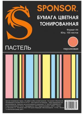 Бумага цветная тонированная SPONSOR А4, 80гр, 100 листов, пастель, персиковая бумага цветная тонированная sponsor а4 80гр 100 листов пастель 5 цветов по 20л