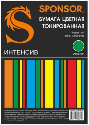 Цветная бумага SPONSOR SC-I.4.100GR A4 100 листов тонированная, интенсив бумага цветная тонированная sponsor а4 80гр 100 листов пастель 5 цветов по 20л