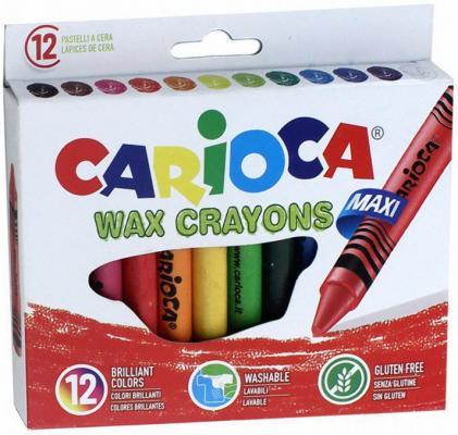 Набор крупных восковых мелков WAX CRAYONS MAXI, картонная коробка, 12 цв, с европод. carioca набор экстра крупных восковых карандашей baby 10 цветов точилка