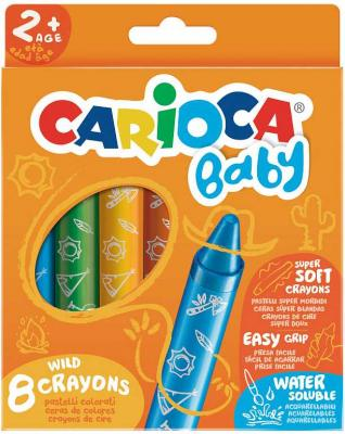 Набор смываемых восковых карандашей СARIOCA BABY, 8 цветов , уп. с европод.