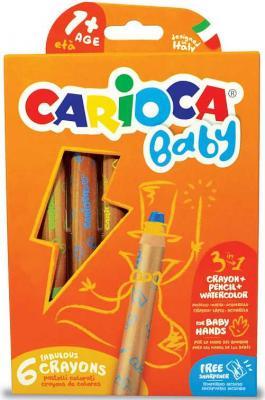 Набор экстра-крупных восковых карандашей CARIOCA BABY, в дерев корпусе, 6 цв, +точилка, уп. с европ.