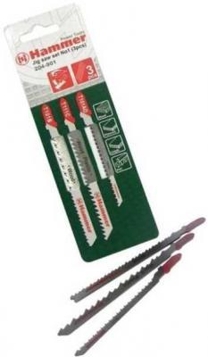 Пилка для лобзика (набор) Hammer Flex 204-901 JG WD-PL набор No1 дерево\\пластик 3 вида, 3шт. набор сверел hammer 202 901 dr set no1