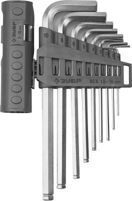 Набор ключей ЗУБР 2745-31-2_z01 эксперт длин.с шариком cr-mo hex 1.5-10мм 9 пред