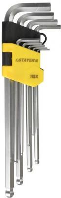 Набор STAYER MASTER 2741-H9 длинные.сатинированное покрытие.пластик.держатель.HEX 1.5-10мм.9 пред