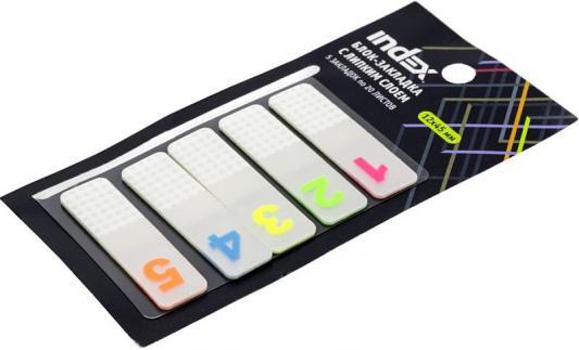 Блок-закладка с липким слоем, разм. 12х45 мм, пластик., 5 закл. по 20 листов, цифры 1-5
