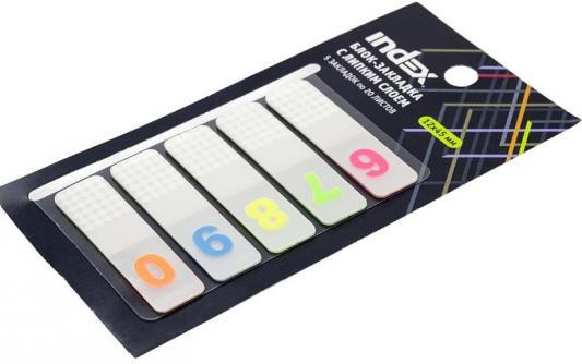 Блок-закладка с липким слоем, разм. 12х45 мм, пластик., 5 закл. по 20 листов, цифры 6-0