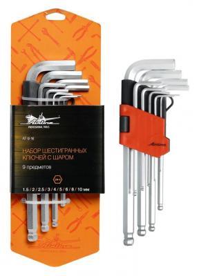 Набор ключей AIRLINE AT-9-16 с шаром 9 предметов (1.5.2.2.5.3.4.5.6.8.10мм) пласт.подвес