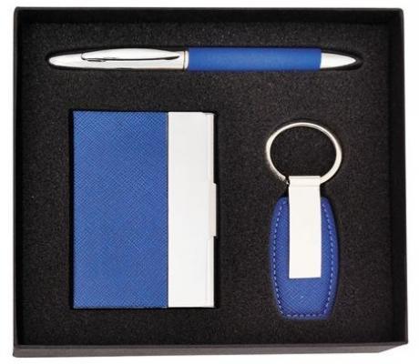 Набор: ручка шариковая, брелок и визитница. Цвет-синий. 3 предмета в наборе.|2