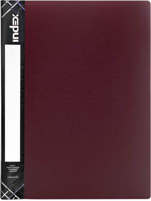 Папка с пружинным скоросшивателем SATIN, карман, форзац, ф.A4, 0,6мм, бордовая