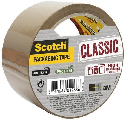 Упаковочная клейкая лента Scotch с повышенной клейкостью, 50мм x 50 м, коричневая.