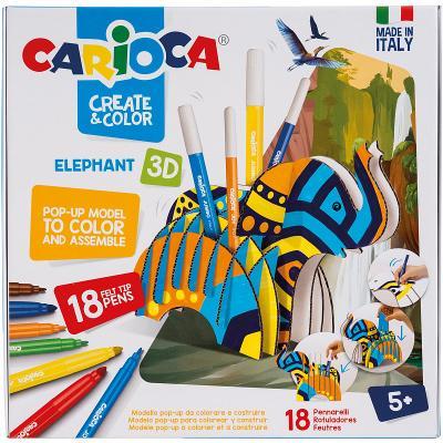 Набор для детского творчества Раскрась и собери 3D, подставка для фломастеров СЛОН