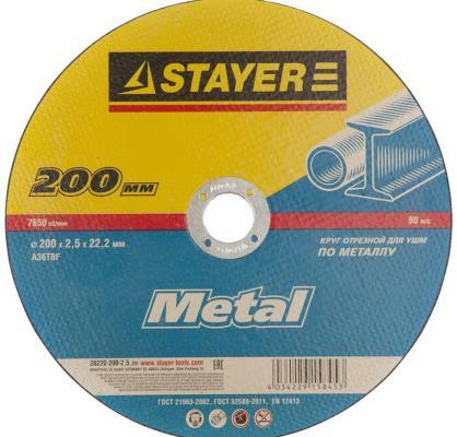 Круг отрезной STAYER MASTER 36220-200-2.5_z01 абразивный для УШМ 200х2.5х22.2мм по металлу круг отрезной stayer 115х1 2х22 master 36220 115 1 2 z01