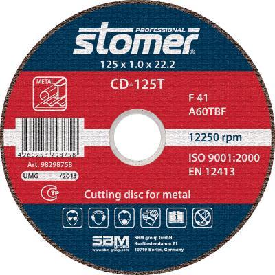 цена на Круг отрезной STOMER CD-125T 125х1.0мм посадочный 22.2мм 13300об/мин зернистость 60