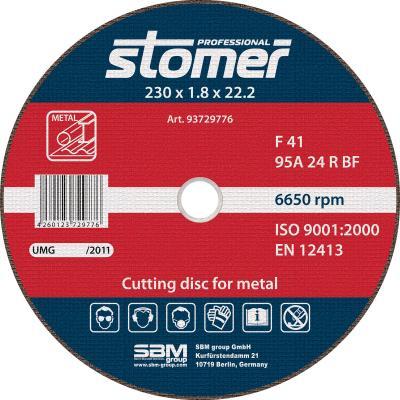 цена на Круг отрезной STOMER CD-230T 230х1.8мм, по нержав.металлу, зерно 24 тип профиля диска 41
