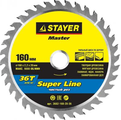 Круг пильный твердосплавный STAYER MASTER 3682-160-20-36 super-line по дереву 160х20мм 36T диск пильный по дереву 160х20мм 36 зубьев кольцо 16 20 вихрь