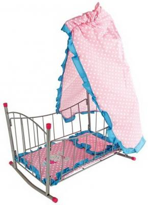 Кровать-качалка с балдахином Зайка 47*32,5*65см кроватка для куклы качалка mary poppins с балдахином зайка