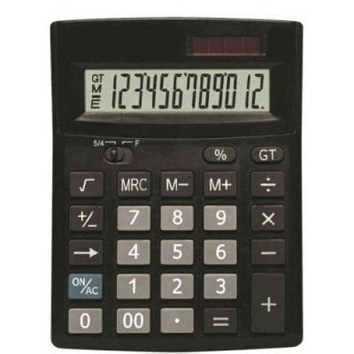 Калькулятор 12-разр., двойное питание, итоговая сумма, черный пластик, разм.138х103х27 мм
