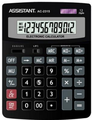 Калькулятор 12-разр., двойное питание, итоговая сумма, черный пластик, разм.201х153х35 мм