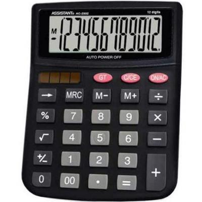 Калькулятор 12-разр., двойное питание, черный пластик, большой дисплей, разм.143х100х25 мм