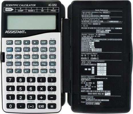 Калькулятор настольный Assistant AC-3252 10+2-разрядный серый/черный калькулятор настольный canon 16 разрядов 2 е питание 140х192х32мм