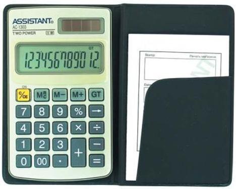 Калькулятор карманный 12-разр., двойное питание, ПВХ обложка, металл. панель, разм.102х61х8 мм
