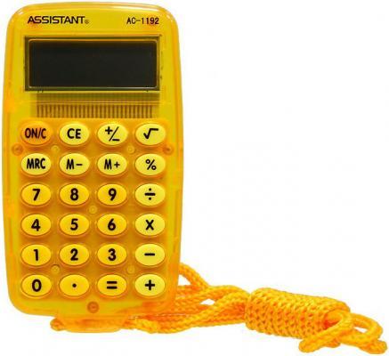 Калькулятор карманный 8-разр. на шнурке, вычисление %, большой дисплей, разм.115х69х9,5 мм АС-1192 OR