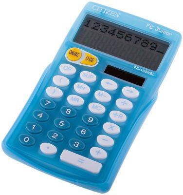 Калькулятор настольный Citizen FC-100N Junior 10-разрядный голубой калькулятор настольный citizen businessline 10 разрядный черный