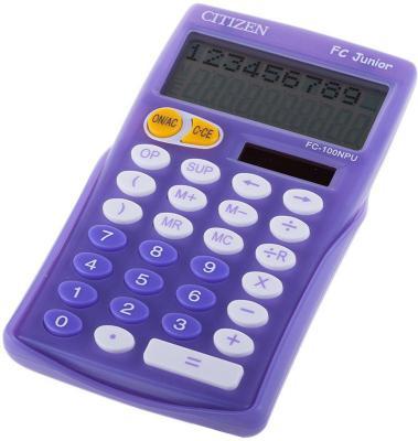 Калькулятор карманный, 10 разр., JUNIOR 2-х стр., дв. питание, сиреневый, разм.129x76х17мм калькулятор научный citizen sr 270n черный 10 разр