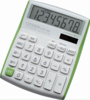 Калькулятор наcтольный 8 разр. 2-е питание TAX MU, 135х108х24 мм, белый/салатовый