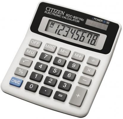 Калькулятор настольный малый, 8разр., дв. питание, белый, в карт. коробке  127х107х32 мм